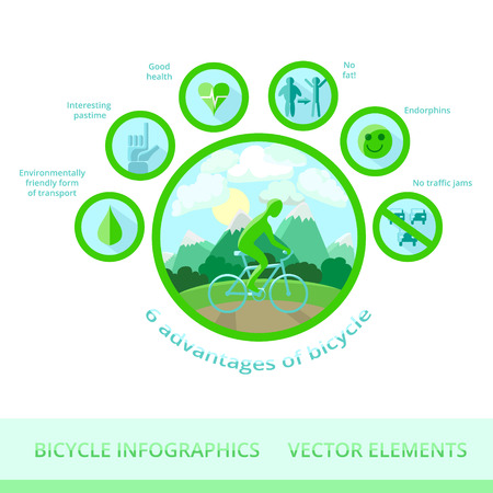 advantages: Infographic vector elements. 6 advantages of bicycle: environmentally friendly form of transport, interesting pastime, good health, no fat, endorphins, no traffic jams.