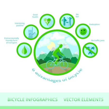 érdekes: Infographic vektoros elemeket. 6 előnyeit kerékpár: környezetbarát közlekedési forma, az érdekes időtöltést, jó egészséget, nem kövér, endorfinok, nem a forgalmi dugókat.