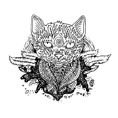 severe: Graphic black vector cat. Illustration for design of t-shirts, mugs, pens, logos and other things. Illustration
