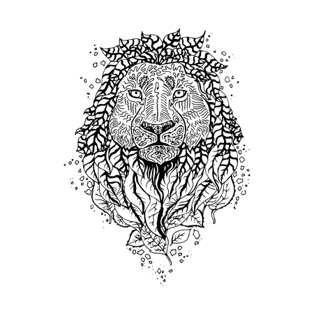 Graphic black vector lion. Illustration for design of t-shirts, mugs, pens, logos and other things.