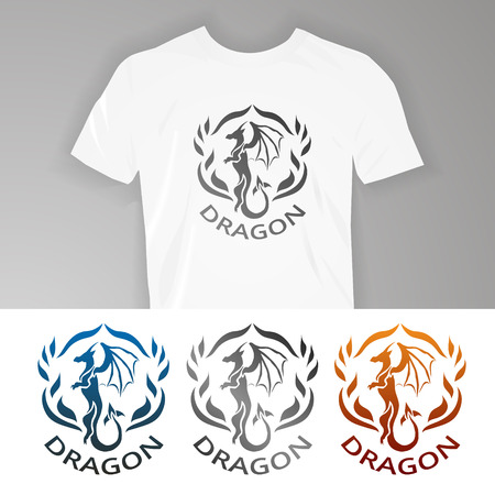 black wings: Text on t-shirt Dragon. Vector illustration dragon for design of t-shirts, mugs, pens and other things. Illustration