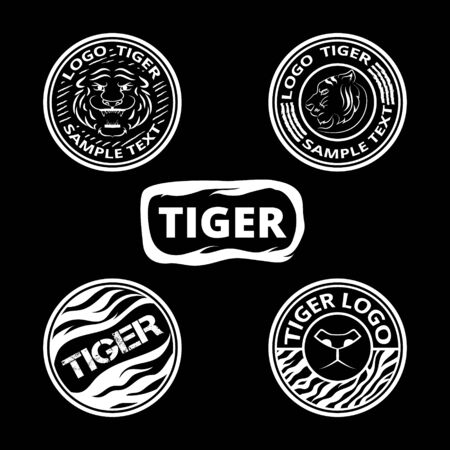zodiac anger: Set of logos with tigers, striped icons and labels. Vector graphic round elements collection.