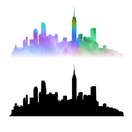 sity: New York sity skyline, vector silhouettes: black and colored.