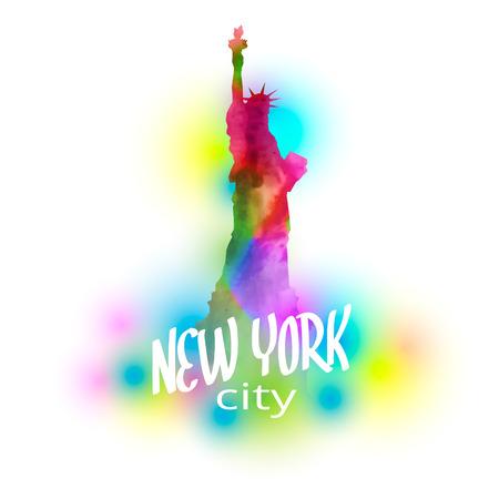 Veelkleurige vector geschilderd standbeeld van vrijheid, belangrijke symbolen van New York, vector illustratie voor t-shirts, souvenirs en andere items