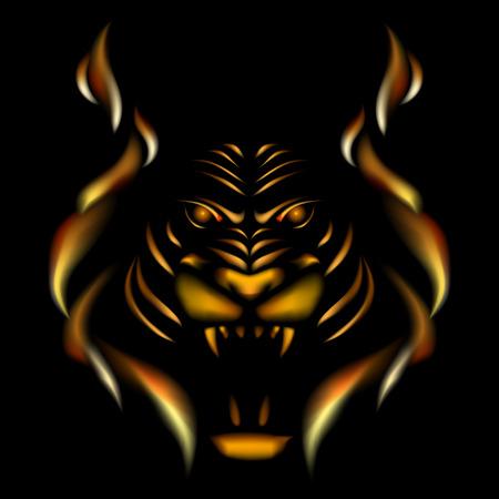 illustation: Tiger made of flame, vector illustation on black gackground.