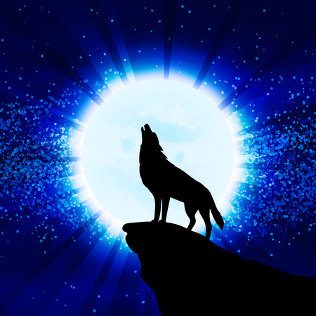 Wolf howling at the moon, vector illustration