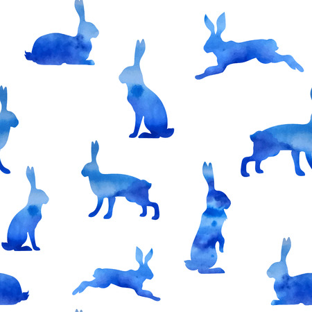 bunnies: Pattern blue watercolor hare vector