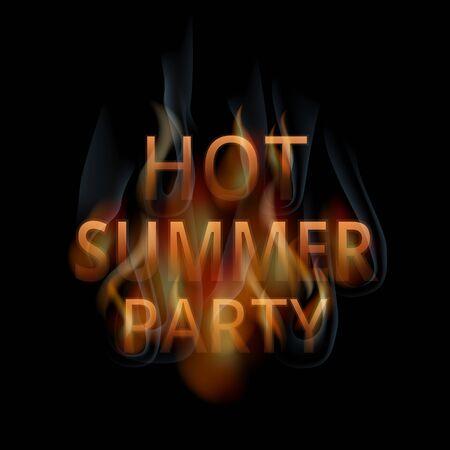 hot summer: Burning words hot summer party, vector, eps 10 Vectores