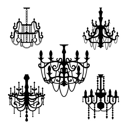 chandelier: Chandelier set of silhouettes vector Illustration