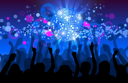 night party: Dance party flyer, musical background, vector, eps 10