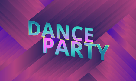 3d dance: Dance party flyer, 3d words dance party, musical background blue and purple, vector, eps 10 Illustration