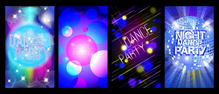 eps 10: Dance party flyers set, musical backgrounds, vector, eps 10