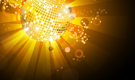 Musical background with a disco ball and abstract drawings. The illustration can be used for a background of the web page, a banner, a flyer.