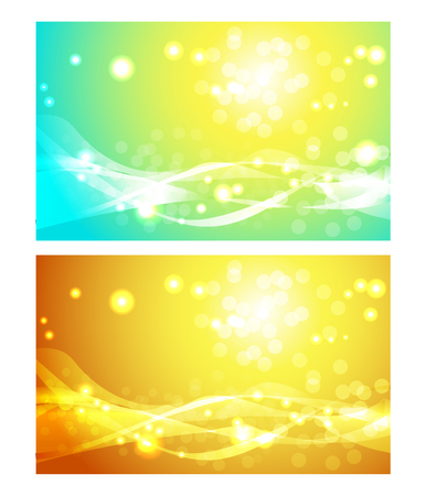 flecks: Set of abstract backgrounds with sun, blue and orange vector illustrations.
