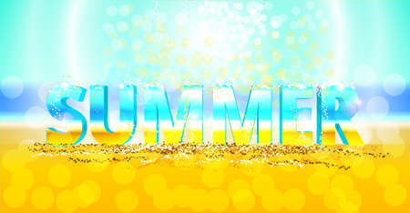 flecks: 3d vector word summer on the sand. Sunny background with flecks.