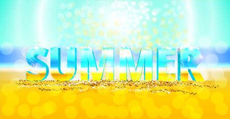 flecks: 3d vector word summer on the sand. Sunny background with flecks.