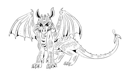 zodiac anger: Graphic picture cub dragon. Illustration, print for t-shirt, mug and so on. Wild things.