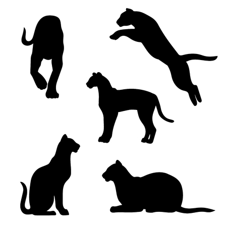 Ocelot set of silhouettes vector. Collection of animal icons.