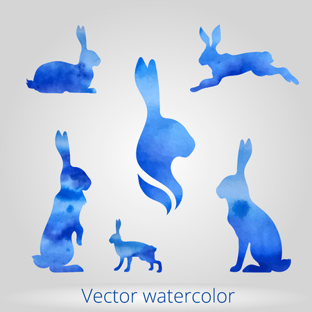 Hare set of vector watercolor silhouettes. Collection of animal icons. Illustration