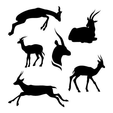 gazelle: Gazelle set of silhouettes vector. Collection of animal icons.