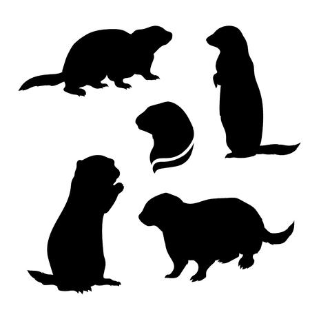 Gopher set van silhouetten vector. Collectie van dierlijke pictogrammen.