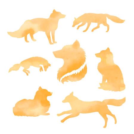 zorro: Fox conjunto de siluetas de color naranja acuarela vector