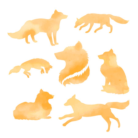 Fox set of watercolor vector orange silhouettes Illustration