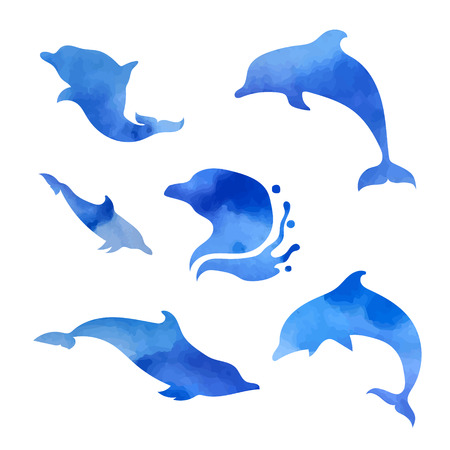 dolphins: Set of vector blue watercolor dolphins. Collection of animal icons.