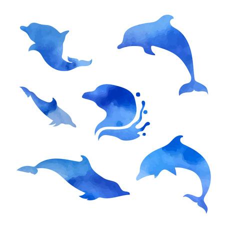 Set van vector blauwe aquarel dolfijnen. Collectie van dierlijke pictogrammen. Stock Illustratie