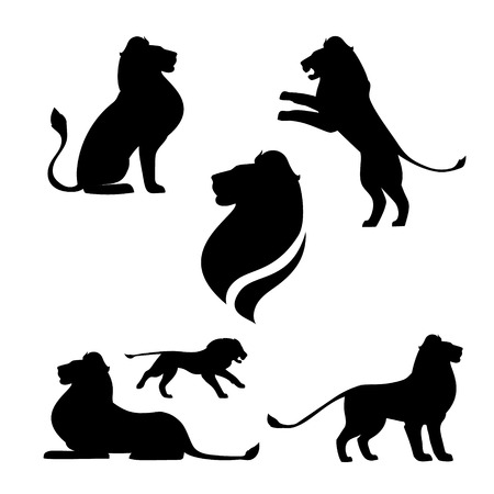 Lion set of black silhouettes. Icons and illustrations of animals. Wild animals pattern. Ilustracja