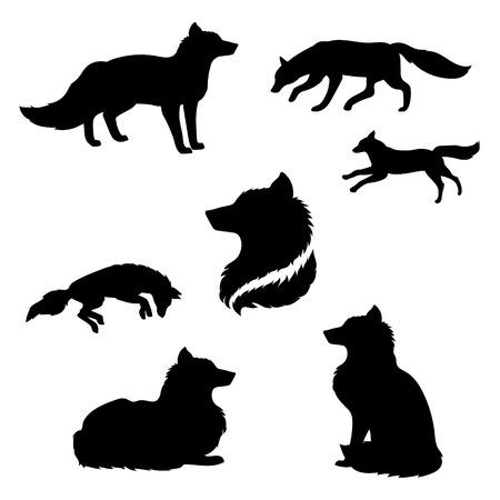 zorro: Fox conjunto de siluetas negras. Los iconos y las ilustraciones de los animales. Patrón de los animales salvajes.