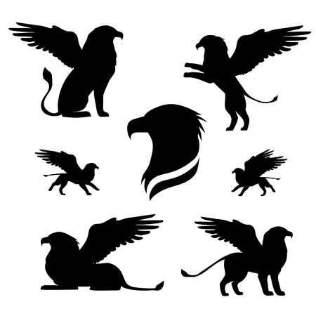 animals in the wild: Griffin set of black silhouettes. Icons and illustrations of animals. Wild animals pattern.
