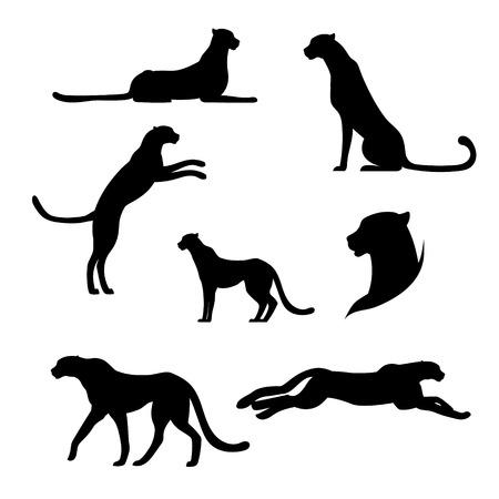 Cheetah set van zwarte silhouetten. Pictogrammen en illustraties van dieren. Wilde dieren patroon. Stock Illustratie