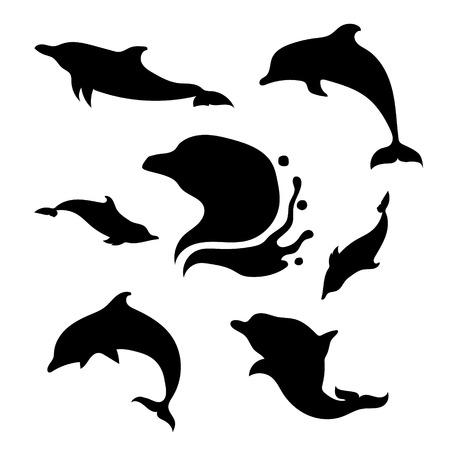 delfin: Dolphin zestaw czarne sylwetki. Ikony i ilustracje zwierząt. Dzikie zwierzęta wzór.