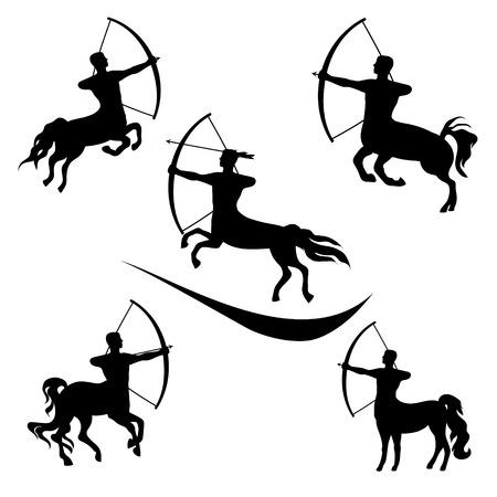 Centaur set of black silhouettes. Icons and illustrations of sagittarius. Archery pattern. Illustration