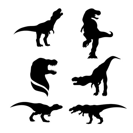 animals in the wild: Tyrannosaurus set of black silhouettes. Icons and illustrations of animals. Wild animals pattern.