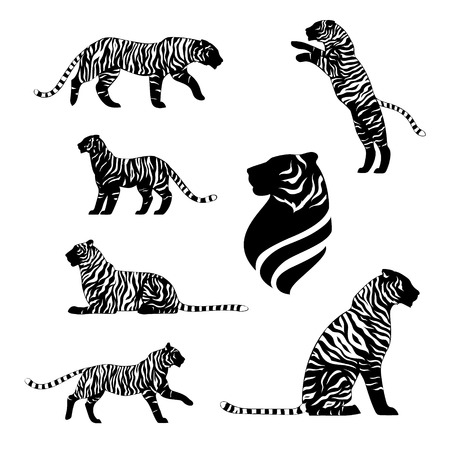 sit: Tiger with stripes, set of black silhouettes. Icons and illustrations of animals. Wild animals pattern.