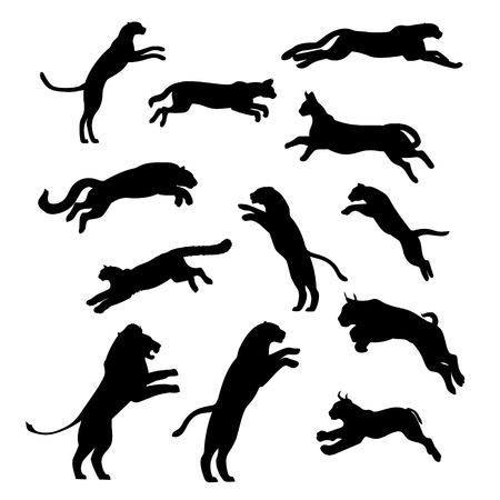Jumping cats and pathers, set of black silhouettes. Icons and illustrations of animals. Wild animals pattern.