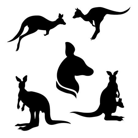 kangaroo white: Kangaroo set of black silhouettes. Icons and illustrations of animals. Wild animals pattern.