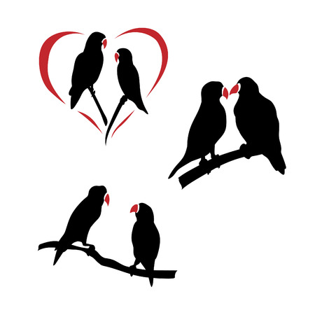lovebird: Lovebird icons and silhouettes. Set of illustrations in different poses.