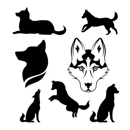 Husky pictogrammen en silhouetten. Set van illustraties in verschillende poses. Stock Illustratie