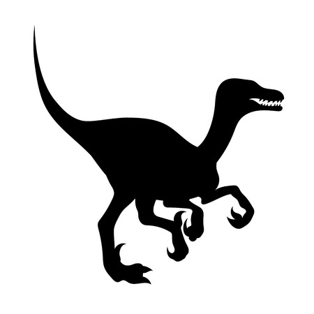 predatory: Silhouette of a predatory dinosaur. Icon velociraptor.