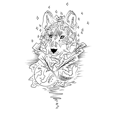 engraving print: Black and white wolf isolated. Engraving sketch. Abstract vector wolf with moon. Print for t-shirt. Wild things. Illustration