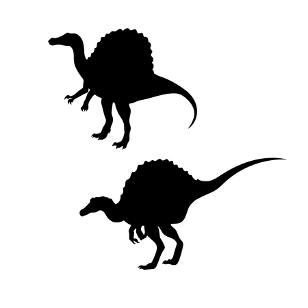 set going: Spinosaurus dinosaur vector icons and silhouettes. Set of illustrations in different poses. Illustration