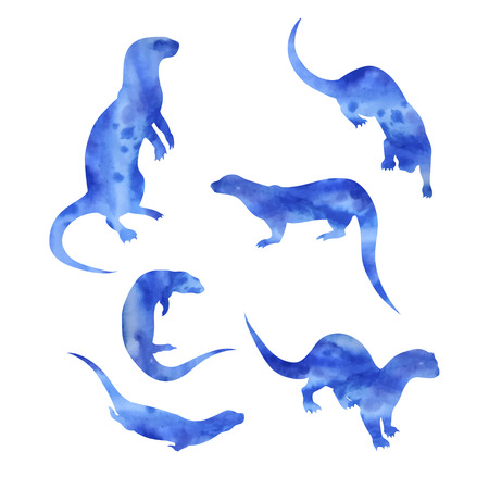 Otter vector watercolor icons and patterns. Set of illustrations in different poses.