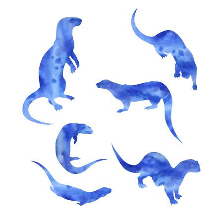 Otter vector aquarel pictogrammen en patronen. Set van illustraties in verschillende poses.