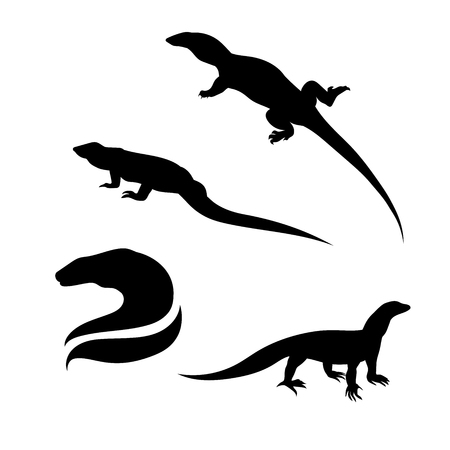 Monitor lizard vector icons and silhouettes. Set of illustrations in different poses.