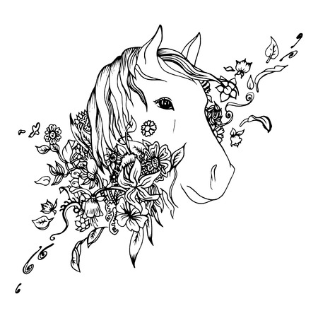 Black and white horse head isolated. Engraving sketch. Abstract vector horse head in the flowers. Print for t-shirt. Wild things.