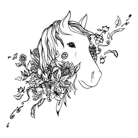 dessin noir et blanc: T�te de cheval noir et blanc isol�. Esquisse gravure. R�sum� t�te vecteur de cheval dans les fleurs. Imprimer pour t-shirt. Les choses sauvages. Illustration