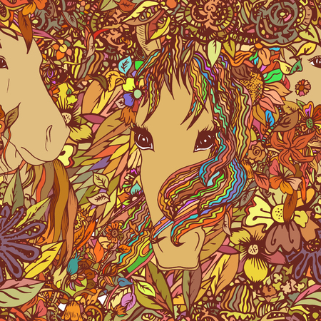 bowing: Seamless vector pattern with horse and flowers. Texture, background for textile, fabric.